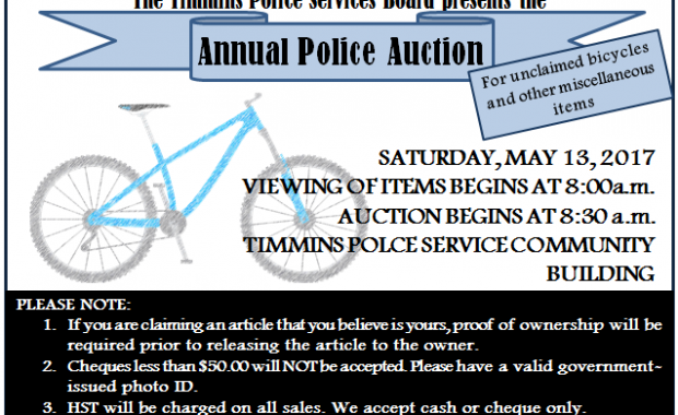 The Timmins Police Services Board Annual Police Auction will take place Saturday, May 13, 2017 at the Timmins Police Service Community Building, 185 Spruce St. […]